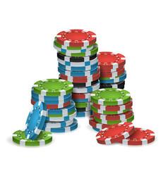 Poker chips stacks plastic white red vector