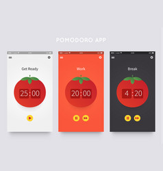 Pomodoro technique app ui design vector