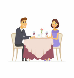 Romantic dinner - cartoon people character vector