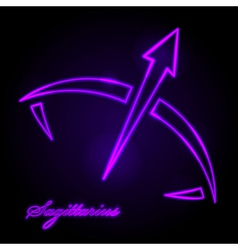 Sagittarius glowing sign vector image