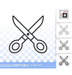 scissors simple black line icon vector image
