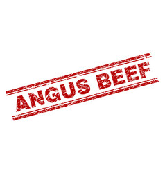 scratched textured angus beef stamp seal vector image