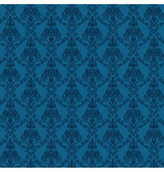 Seamless Damask Wallpaper 4 Blue Color vector image