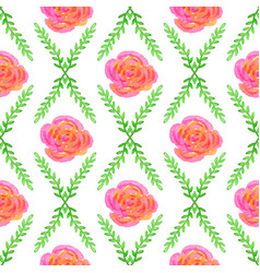 seamless wallpaper with rose and green bruhche vector image