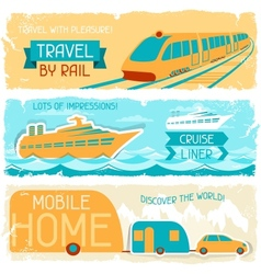 Set horizontal travel banners in retro style vector