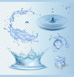 Set of water transparency splashes water crown vector