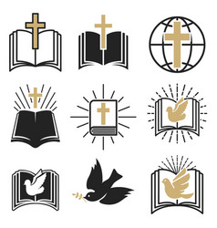 set religious signs cross with dove holy vector image