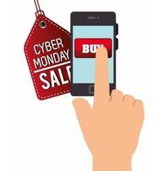Smartphone cyber monday hand buy vector