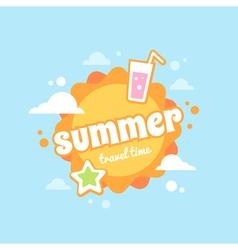 Summer sun flat card vector image vector image