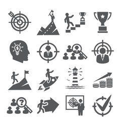 target and goal icons on white background vector image