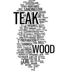 Teak the care of boat hardwoods text background vector