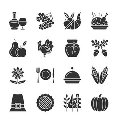Thanksgiving day black silhouette icon set vector
