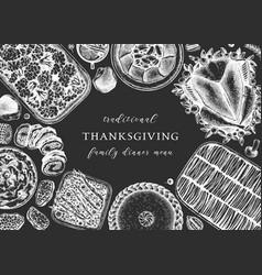 thanksgiving day dinner menu design on chalkboard vector image