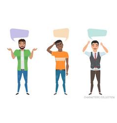 Three modern multiracial men communicate dialog vector