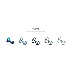 Treats icon in different style two colored and vector