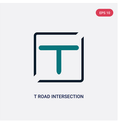 Two color t road intersection icon from maps and vector