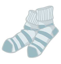 Warm knitted socks with stripes winter clothes vector
