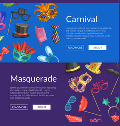 web banners with masks and vector image
