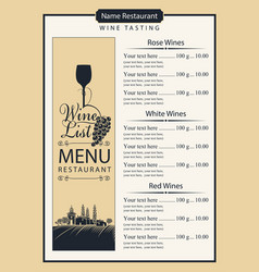 wine list with wine glass grapes and landscape vector image