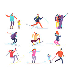 Winter sports people adult and children in winter vector