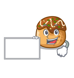 With board cartoon cooking takoyaki in baked fire vector