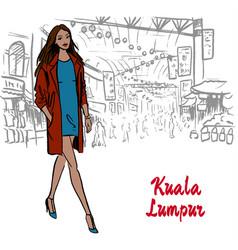 woman in kuala lumpur vector image