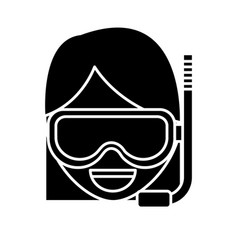 Woman with snorkel mask icon vector