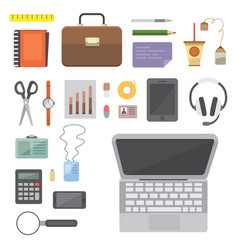 Workplace with mobile devices and documents vector