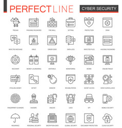 cyber security thin line web icons set network vector image vector image