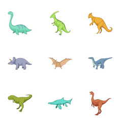 dinosaurs icons set cartoon style vector image