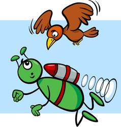flying alien cartoon vector image vector image
