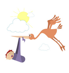flying bird holds a baby in the beak vector image