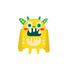 funny yellow cartoon monster fabulous incredible vector image
