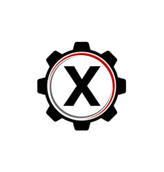 gear solution logo letter x vector image vector image