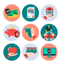 Insurance flat icons set vector image vector image