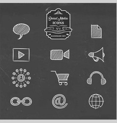 Social media network handmade sketch icon set vector