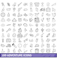 100 adventure icons set outline style vector image