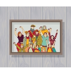Big happy family group color photo on the wall vector image