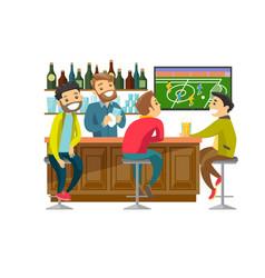 caucasian people watching football at sport bar vector image