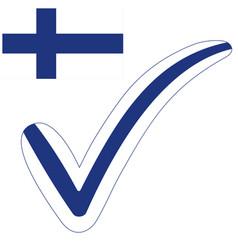 check mark style finland republic flag vector image
