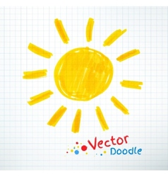 Childlike drawing of sun vector image