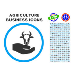 cow care hand rounded icon with set vector image vector image