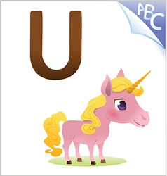 Animal alphabet for the kids U for the Unicorn vector image