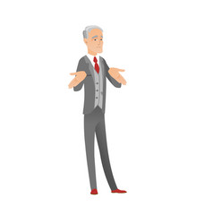 confused caucasian businessman shrugging shoulders vector image vector image