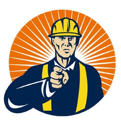 construction worker hardhat pointing vector image vector image