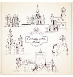 Old city sketch vector image