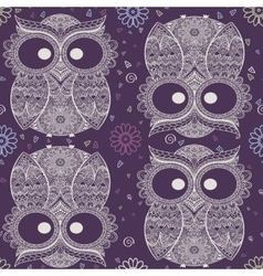Ornamental owl on the patterned background vector image vector image