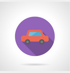 red automobile flat round icon vector image vector image