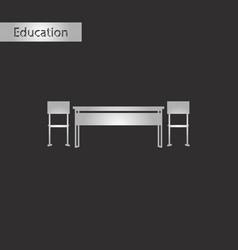 Black and white style icon school desk vector