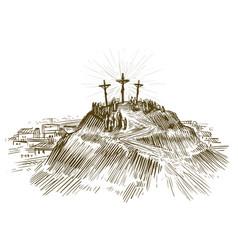 Crucifixion jesus christ son of god sketch vector